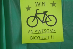 Sign posted about bicycle door prize