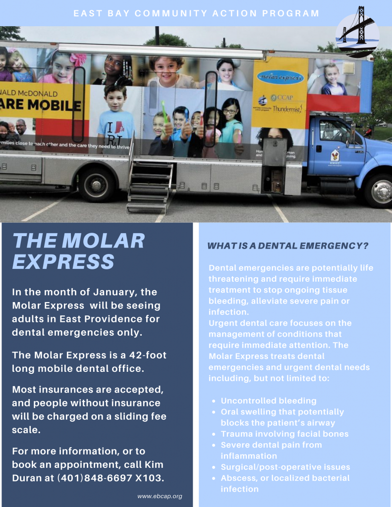 Flyer - The Molar Express, travelling to East Providence January 2021 to care for adults with dental emergencies
